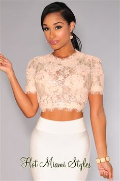Peach Sheer Lace Sequins Crop Top.