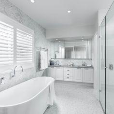 Extend the Hamptons look into your ensuite in your new Clarendon Homes home for a timeless, elegant appeal. On display now at our Pallara… Bathroom Renos, Laundry In Bathroom, Bathroom Interior, Small Bathroom, Budget Bathroom, Master Bathroom, Modern Bathroom, Bathroom Ideas, Bathroom Gallery