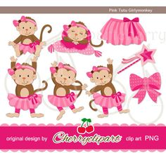 Pink Tutu Girly monkey digital clipartPersonal by Cherryclipart, $4.50