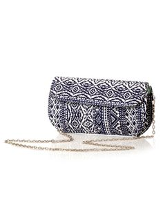 Aztec Print Box Clutch whiteblack34