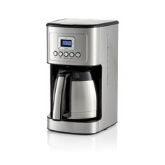 This 12-cup programmable drip coffee maker with timer provides hotter coffee without sacrificing taste. Strength control brews regular or bold with a brew-pause function that lets you enjoy a cup before the brewing cycle has finished. Gold-tone coffee filter means no paper filters and easy cleanup.    View all Cuisinart products      Stainless steel and plastic  BPA-free  12-cup stainless steel thermal carafe  24-hour programmable  Auto-shutoff  Charcoal water filter and gold-tone permanent filt Coffee Maker With Timer, Drip Coffee Maker, Thermal Coffee Maker, Charcoal Water Filter, Safe Cleaning Products, Hot Coffee, Carafe, Crate And Barrel, Brewing