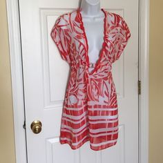 Becca Swim cover up Sheer red and white swim coverup. Only worn twice. Size is XS/S Becca Other