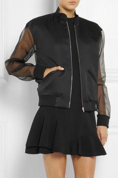 Victoria Beckham | Woven silk and silk-gazar bomber jacket | NET-A-PORTER.COM