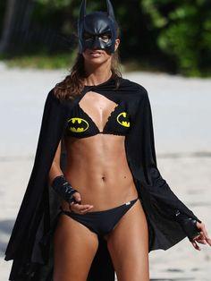 Fernanda Uesler - Wearing Batman Bikini on Halloween in Miami