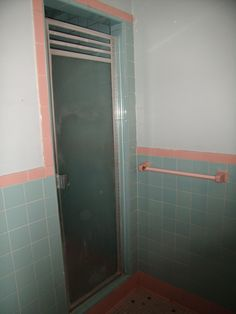 Shower in aqua and pink bathroom | Flickr - Photo Sharing!