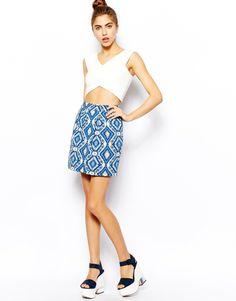 Blue Embellished Diamond Print Mini Skirt