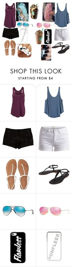 """""""At Starbucks with the bestie"""" by mlchambers ❤ liked on Polyvore featuring American Apparel, RVCA, L'Agence, Pieces, Aéropostale, Cocobelle, Ray-Ban and River Island"""