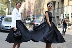 These skirts were made for twirling. | All the Best Street Style Straight From Milan Fashion Week! | POPSUGAR Fashion