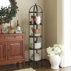 Lyon Round Etagere | Ballard Designs - An option for pots and pans so you do not have to use a pot rack. Like the round shape.