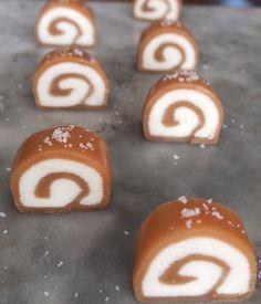 Fleur de Sel/ Vanilla Cream Fondant Caramel Spirals - these look fantastic!