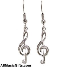 Incredibly detailed, these music note earrings have small rhinestones inlaid into body of the treble clef. Description from store.drumbum.com. I searched for this on bing.com/images