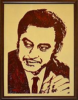 """""""Kishore Kumar - Portrait on Glass by CristalArt"""" Kishore Kumar was not only a popular playback singer but also an actor, a producer and a director. He learnt yodeling by listening to his brother Anoop Kumar's Australian records..."""