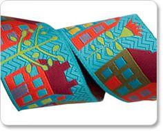 Turquoise Houses Ribbon - Sue Spargo