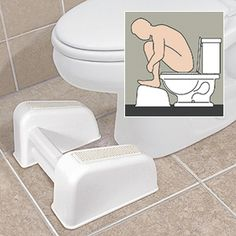 TOILET FOOTREST  Offers simple, easy relief for painful bowel movements. Special foot stool lifts feet off the floor and positions your body to create a beneficial pressure in the abdominal cavity. The squatting position allows a more natural, more comfortable movement without straining. Especially useful for pregnant women and hemorrhoid sufferers. Sturdy construction has nubbed, non-slip foot placements. U-shaped design allows space-saving storage at base of toilet.