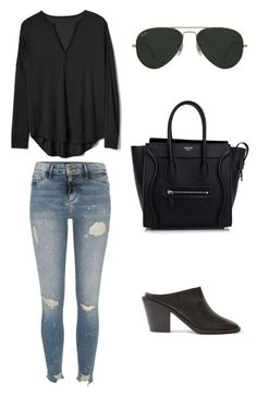 """""""Untitled #45"""" by nicolemcp on Polyvore featuring River Island, Gap, Topshop, CÉLINE and Ray-Ban"""