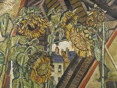 John Bratby (British, 1928-1992), Five Sunflower Faces around Triangular View. Oil on canvas, 86 x 113.5 cm.