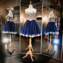 Royal Blue Homecoming Dress Sweetheart Beaded Appliques Organza 8th Grade Party Dresses Vestido Para Coctel Summer Fashion(China (Mainland))