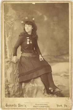 Cabinet Card of famous trick shooter, Mae Lillie, wife of Pawnee Bill and professional rival of the more famous, Annie Oakley.