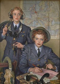 Corporal Elspeth Henderson and Sergeant Helen Turner, 1941 by Laura Knight. Photograph: The Royal United Services Institute. During the second world war Henderson and Turner were awarded the Military Medal for bravery for continuing to work on their switchboard even as their RAF base was bombed. 'It is the distinctive orange-red of their lipstick that catches the attention, all their pluck somehow captured in the careful application of a little Max Factor.'