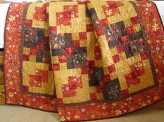 handmade lap quilt brown red