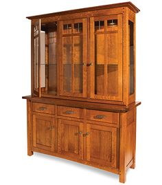 Antique LARKIN Arts and Crafts Mission China Cabinet. Tall Solid ...