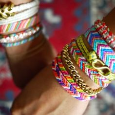 Friendship bracelets are a summer style staple! DMC floss available in stores and online.