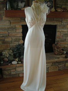 Handmade vintage inspired 1930s bias cut wedding dress. $599.00, via Etsy.