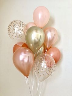 Rose Gold Coral & Chrome Gold Confetti Latex Balloons~First Birthday~Wedding~Bridal Shower~Rose Gold Balloon~Coral Balloons~Coral Rose Gold