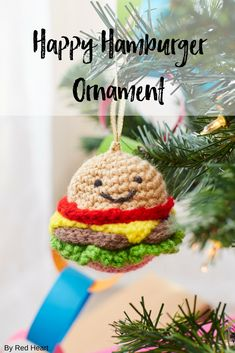 Happy Hamburger Ornament crocheted in Super Saver. Crochet a foodie favorite and decorate your tree deliciously! Our smiling hamburger is perfect for anyone who prefers a good juicy burger to a fancy meal!