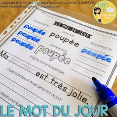 Le Mot du Jour - Volume 2 - insert the worksheets into page protectors: save on paper and ink French Teaching Resources, Teaching French, Teaching Ideas, Vocabulary Instruction, Grammar And Vocabulary, Read In French, Learn French, Sight Word Centers, French Education
