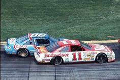 Terry Labonte in Junior Johnson''s Budweiser Thunderbird runs on the outside of Greg Sacks' Crisco Pontiac at Martinsville. Bobby Labonte, Terry Labonte, Nascar Cars, Nascar Racing, Auto Racing, American Stock, Classic Race Cars, Real Racing, Old Race Cars
