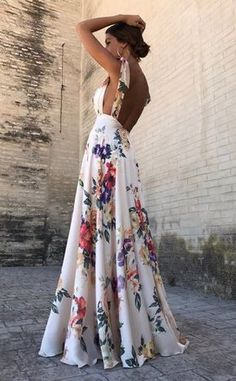 Sexy New Backless Floral Print Maxi Dress – modevova floral outfit summer,floral print dress, pretty dresses, floral formal dress, Vestido Maxi Floral, Floral Print Maxi Dress, White Floral Dress, Floral Gown, Floral Dress Wedding, Robes Dos Nu Maxi, Pretty Dresses, Beautiful Dresses, Awesome Dresses