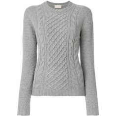 Drumohr cable knit crew neck jumper ($185) ❤ liked on Polyvore featuring tops, sweaters, grey, grey wool sweater, chunky cable knit sweaters, cable knit crew neck sweater, gray sweater and cable sweaters