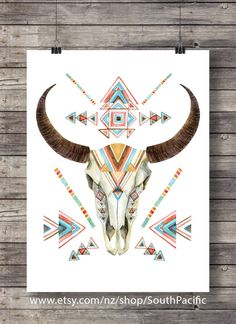 Cow skull in tribal style. Animal skull with ethnic ornament. Buffalo skull isolated on white background. Wild and free design. Cow Skull Art, Skull Wall Art, Skull Decor, Bull Skulls, Deer Skulls, Animal Skulls, Crane, Painted Cow Skulls, Hand Painted