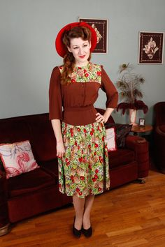 Stunning! Vintage 1940s Dress  Cherry Print Rayon Jersey and by FabGabs, $284.00
