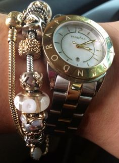 Elegance in Pandora gold, Two tone Imagine watch, Pandora Collection, Pandora Bracelet, Charms
