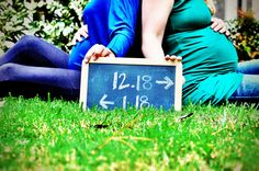 this is a cute best friend maternity pic with due dates !!!