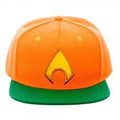 DC Aquaman Chrome Weld Symbol Orange Flat Brim Baseball Cap Hat Licensed NWT #DC #BaseballCap