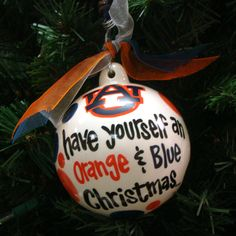 Ornament, Orange And Blue Christmas   Auburn University Bookstore