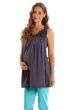Corsage Nursing Tunic in Heather Charcoal by Mothers en vogue with free shipping