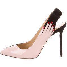 Pre-owned Charlotte Olympia Hands Up Pumps (6,365 MXN) ❤ liked on Polyvore featuring shoes, pumps, black, patent pointed toe pumps, black pointy-toe pumps, pointed toe shoes, patent pointy toe pump and pointy-toe pumps