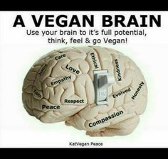 use your brain to its full potential, think, feel and go #vegan