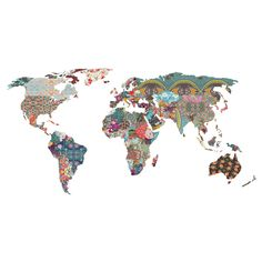 What a wonderful world! This unique world map collage cut out decal, Louis Armstrong Told Us So by artist Bianca Green offers a fun vibe with a bohemian flare.