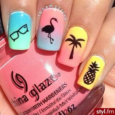 Pretty nail art designs for summer 18 unhas de flamingo, uñas para pl Pretty Nail Art, Cute Nail Art, Cute Nails, Colorful Nail Designs, Cute Nail Designs, Colorful Nails, Simple Designs, Beachy Nail Designs, Teen Nail Designs