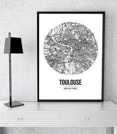 Affiche A3 Carte Toulouse France Street Map - City map, Poster de ville, Décoration murale, Plan de ville, Impression