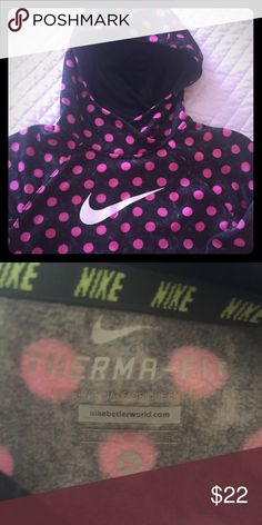 NIKE GIRLS THERMA FIT HOODIE Black with hot pink polka dots. 💕EXCELLENT 💕 Condition, no stains or flaws.  Girls size XL Nike Shirts & Tops Sweatshirts & Hoodies