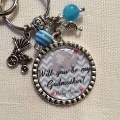 Godmother Keychain, Key chain, Will You Be My Godmother, Baby Boy, Personalized Gift, Baby Shower, Godmother gift, Elephant, Blue on Etsy, $17.50