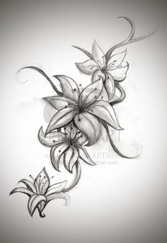 Perfect for a tattoo...  Loving the lilies.