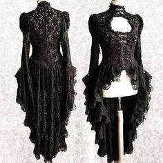 Retro Vintage Inspired Corset Effect Striped Cogs Steampunk Dress Goth Punk Emo