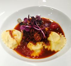Duck Confit Ravioli with Cherry Port Reduction